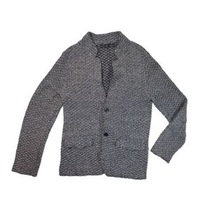 Zara Man Cotton Tweed Button Collared Cardigan L